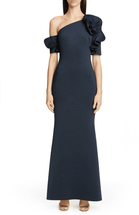 BADGLEY MISCHKA COLLECTION One-Shoulder Trumpet Evening Navy Dress