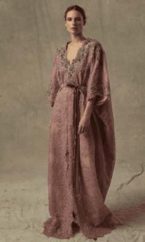 MARCHESA Exclusive Embellished Lace Caftan Purple Dress