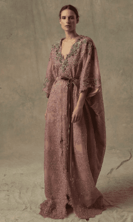 MARCHESA Exclusive Embellished Lace Caftan Purple Dress