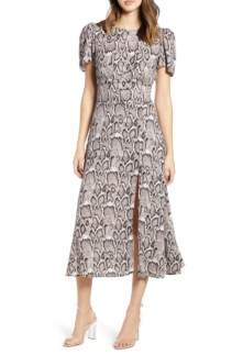 AFRM Lala Midi Snakeskin Dress