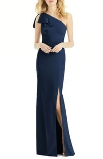 AFTER SIX Bow One-Shoulder Navy Gown
