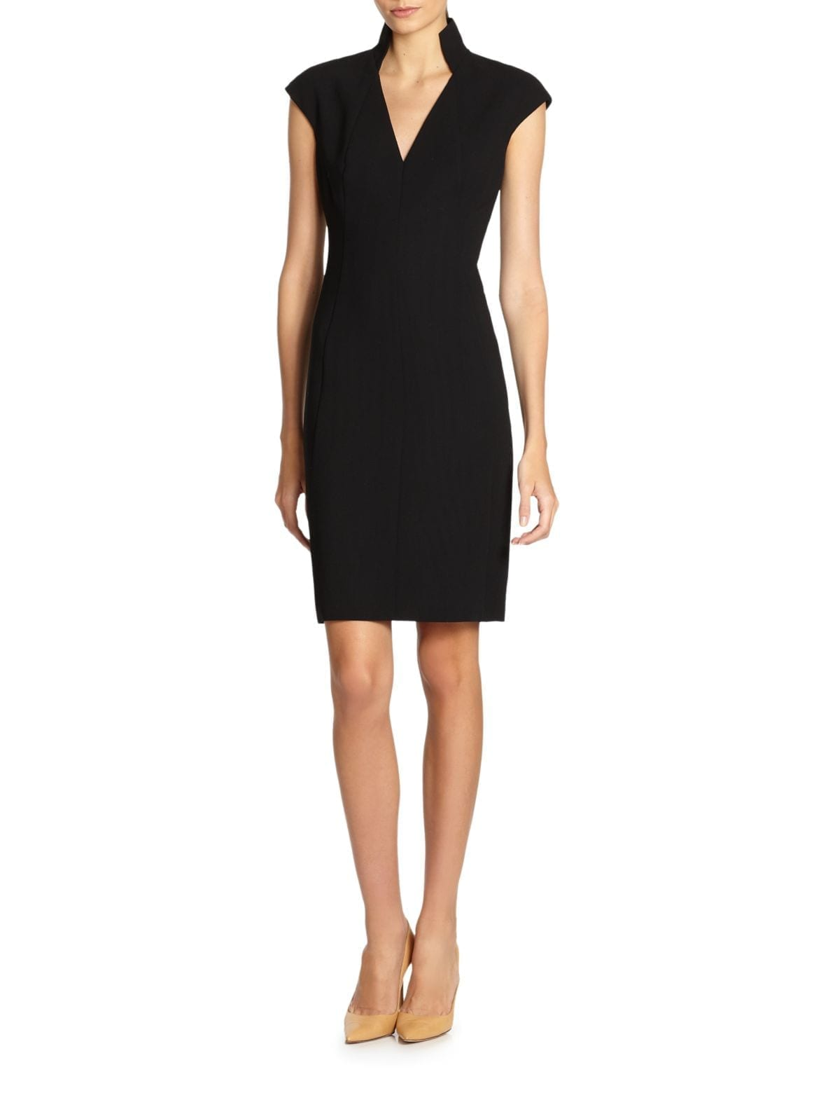 AKRIS Architectural Collection Double Face Black Dress