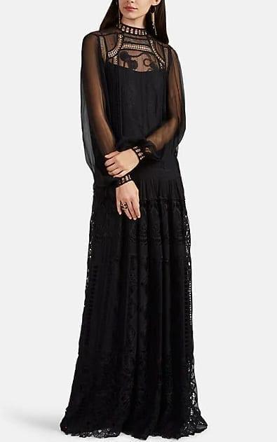 ALBERTA FERRETTI Crochet-Inset Silk Chiffon Black Gown