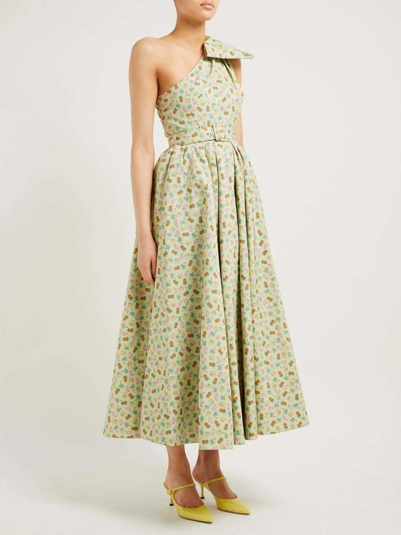 ALESSANDRA RICH Belted Pineapple-print Cotton-blend Green Gown
