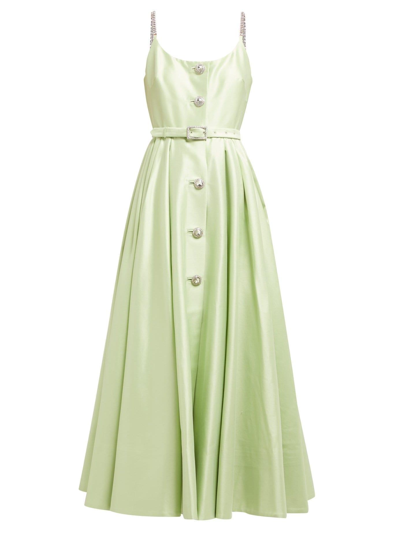 ALESSANDRA RICH Crystal-Embellished Cotton-Blend Midi Green Dress