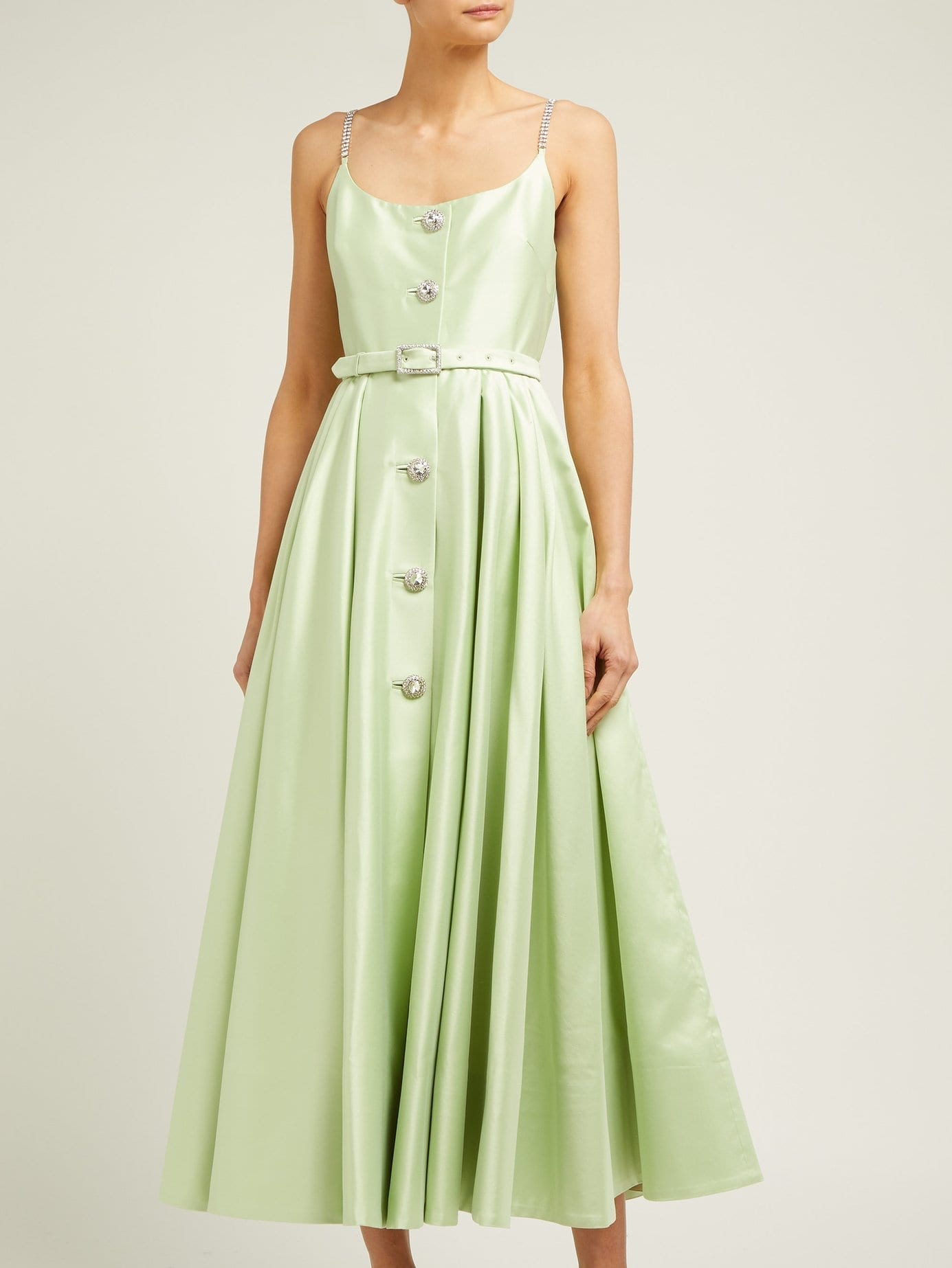 ALESSANDRA RICH Crystal-Embellished Cotton-Blend Midi Green Dress