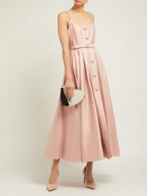 ALESSANDRA RICH Crystal-Embellished Cotton-Blend Midi Pink Dress