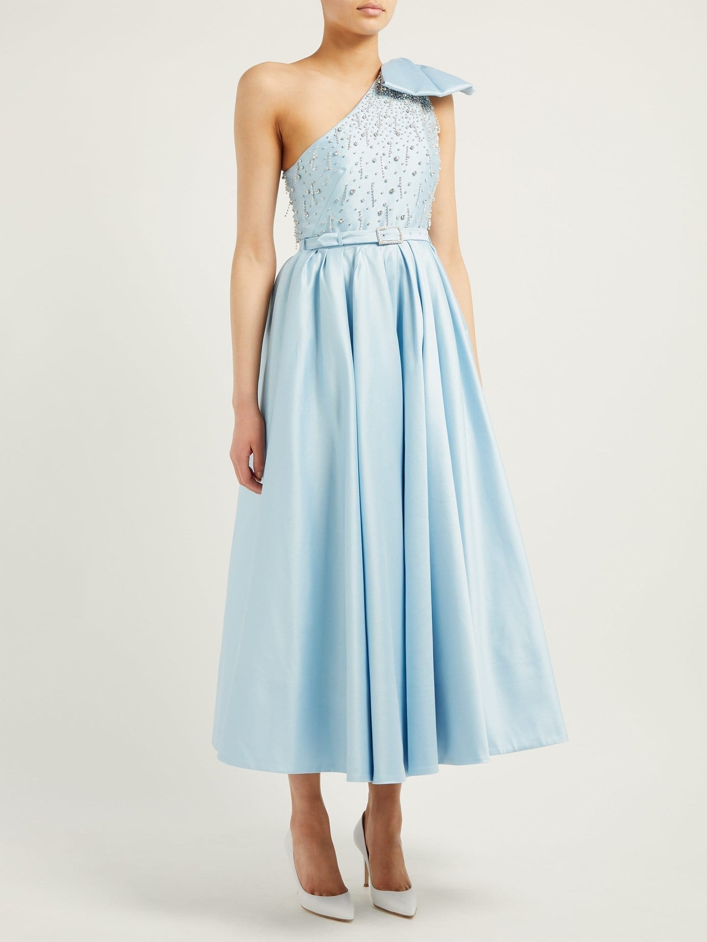 ALESSANDRA RICH Crystal-bodice One-shoulder Cotton-blend Light Blue Gown