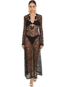 ALESSANDRA RICH Embellished Long Lace Black Dress