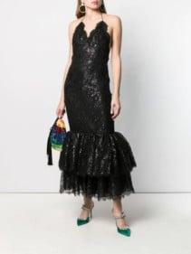ALESSANDRA RICH Halterneck Fishtail Black Gown