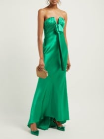 ALESSANDRA RICH Ruched Strapless Silk-charmeuse Green Gown