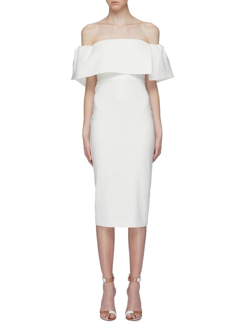 ALEX PERRY 'Margot' Drape Panel Off-Shoulder Crepe Midi White Dress