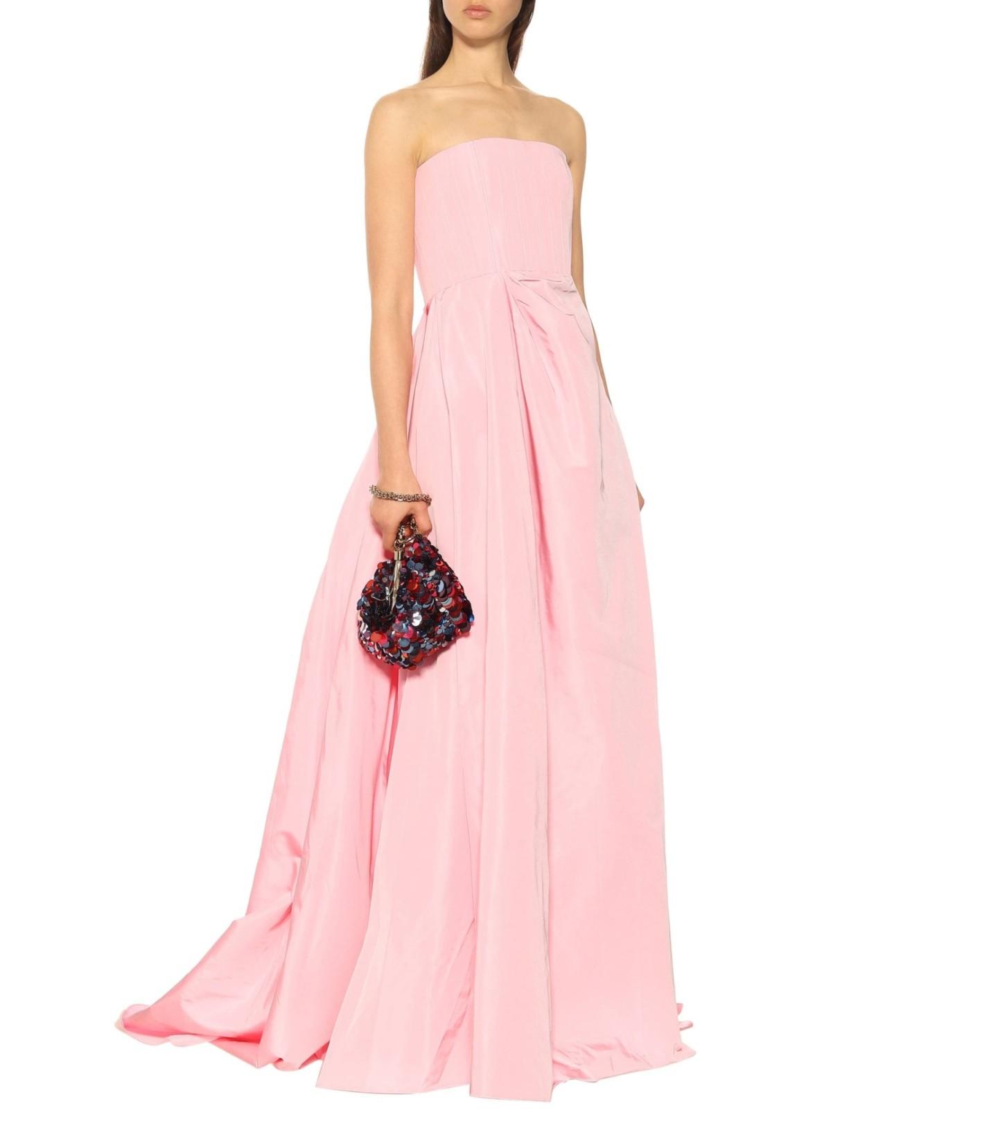ALEX PERRY Valeria Strapless Silk Grosgrain Pink Gown