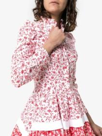 ALEXANDER MCQUEEN High-neck Cotton Skater White / Floral Printed Dress