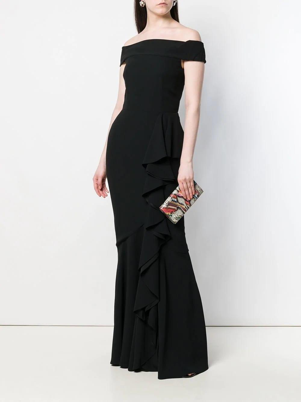 ALEXANDER MCQUEEN Off-the-shoulder Evening Black Dress