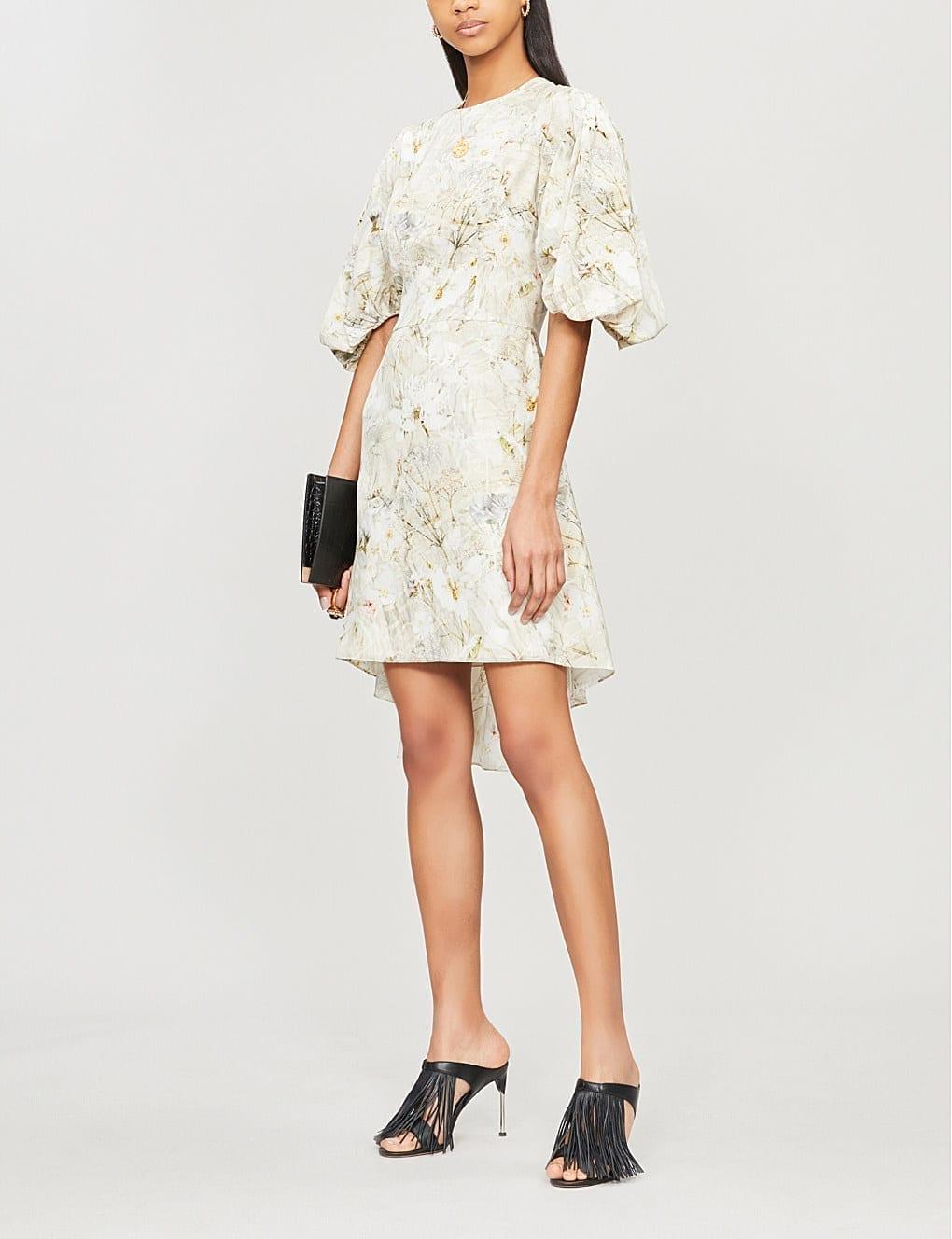 ALEXANDER MCQUEEN Ophelia Floral-Print Silk Ivory Dress