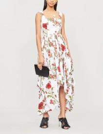 ALEXANDER MCQUEEN Poppy Floral-Pattern Cotton-Poplin Midi Ivory Dress