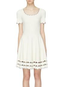 ALEXANDER MCQUEEN Scalloped Cutout Border Knit White Dress