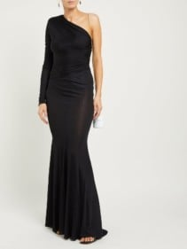 ALEXANDRE VAUTHIER One-Shoulder Ruched Fishtail-Hem Black Dress