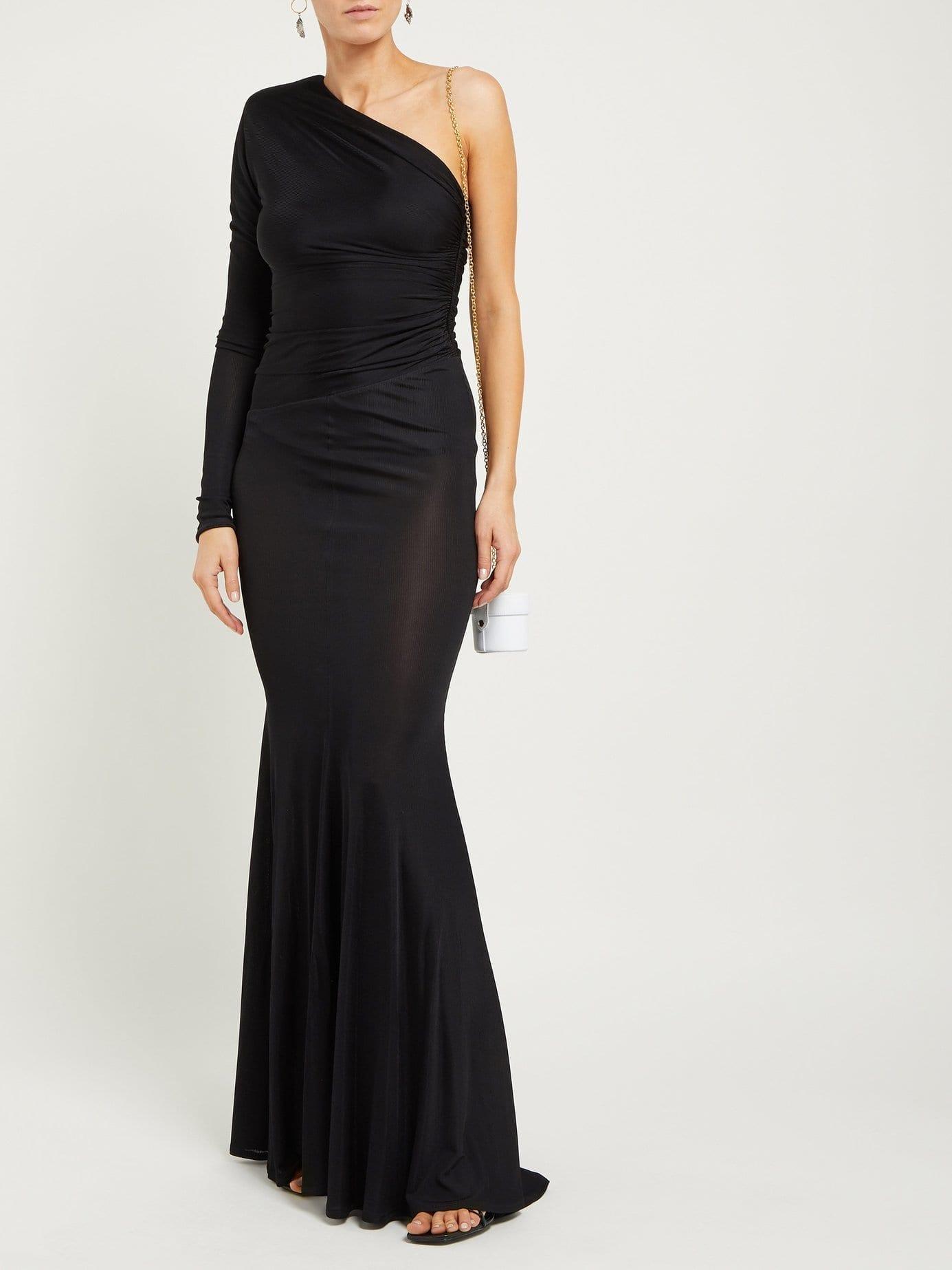 ALEXANDRE VAUTHIER One-Shoulder Ruched Fishtail-Hem Black Dress