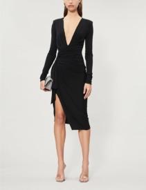 ALEXANDRE VAUTHIER Plunge V-neck Stretch-Jersey Midi Black Dress