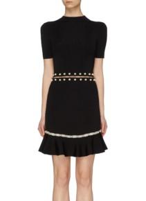 ALICE + OLIVIA 'Evelyn' Faux Pearl Piercing Cutout Black Dress
