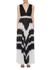 ALICE + OLIVIA 'Tess' Lace Trim Pleated V-Neck Dress