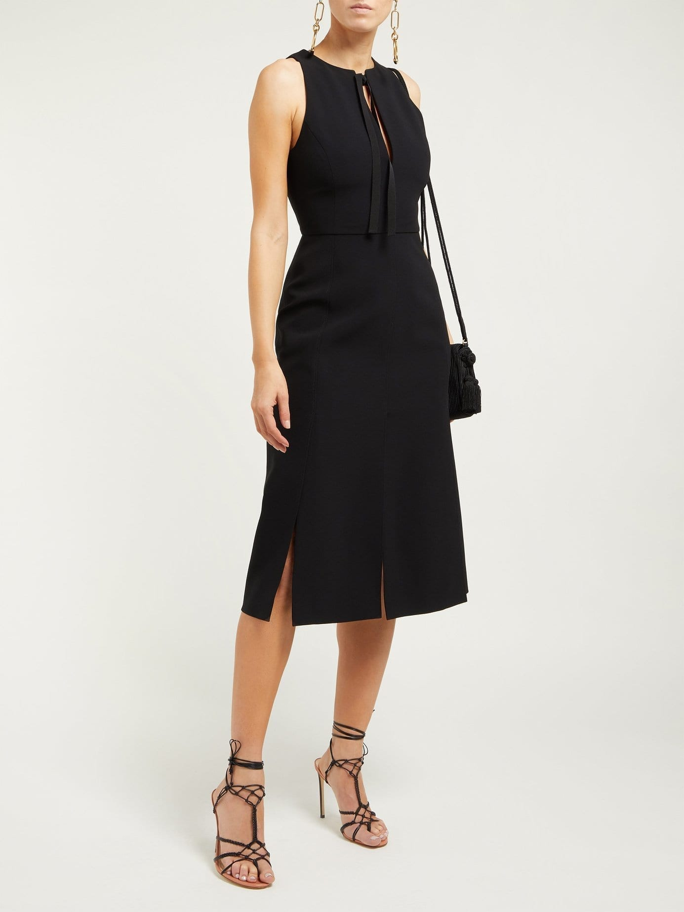 ALTUZARRA Margherita Tie-Neck Crepe Black Dress