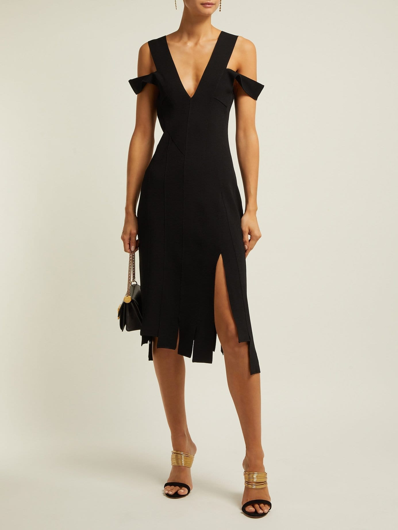 ALTUZARRA Tiziana Stretch-Crepe Asymmetric Midi Black Dress