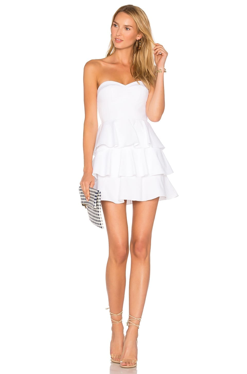 AMANDA UPRICHARD Tiered Ruffle White Dress