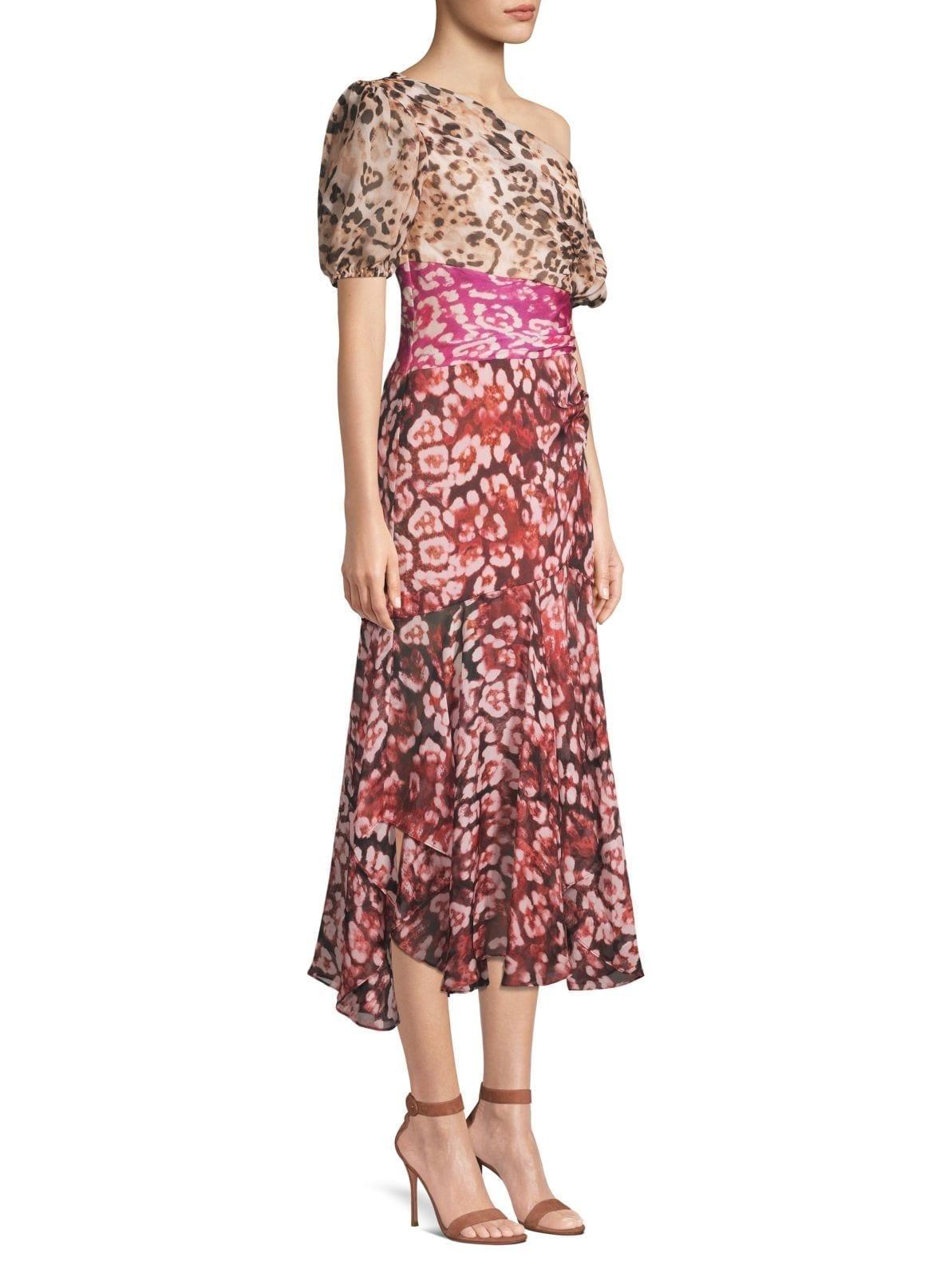 AMUR Jaylah Silk Chiffon One-Shouldered Multicolored Dress