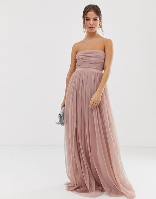 ANAYA WITH LOVE Tulle Bandeau with Satin Trim Maxi Pearl Blush Dress