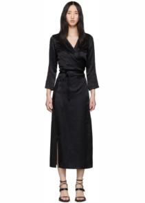 ANN DEMEULEMEESTER Long Wrap Black Dress
