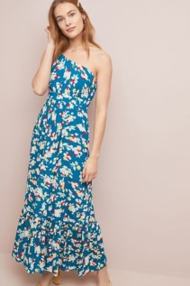 ANTHROPOLOGIE Bouquet One-Shoulder Maxi Blue Dress
