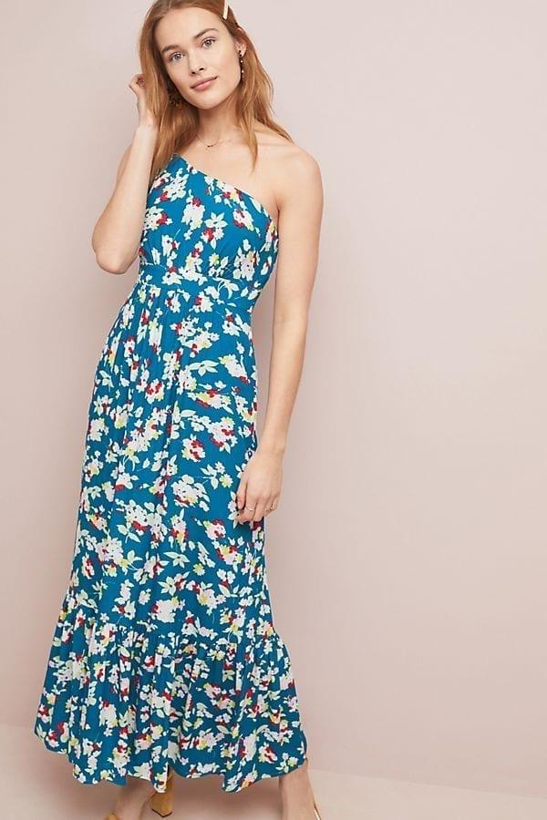ANTHROPOLOGIE Bouquet One-Shoulder Maxi Blue Dress