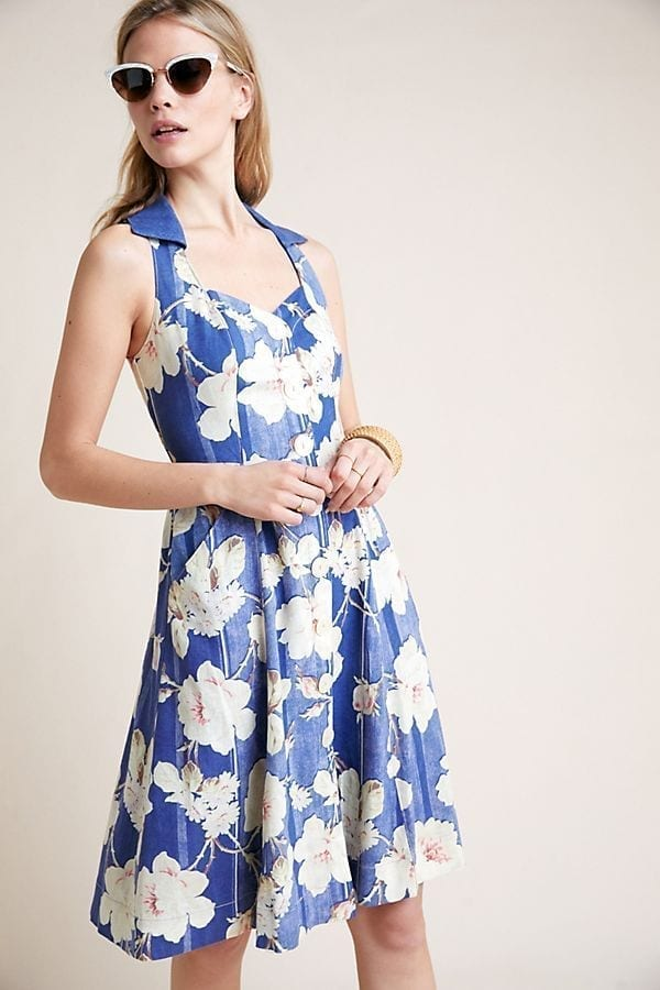 ANTHROPOLOGIE Camellia Collared Blue Dress