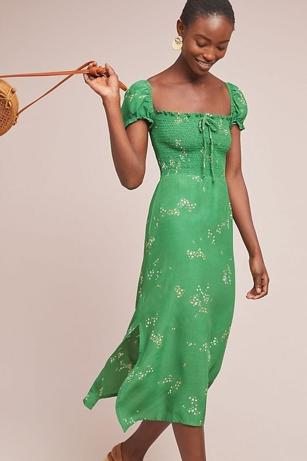 ANTHROPOLOGIE Faithfull Myrtille Midi Green Dress