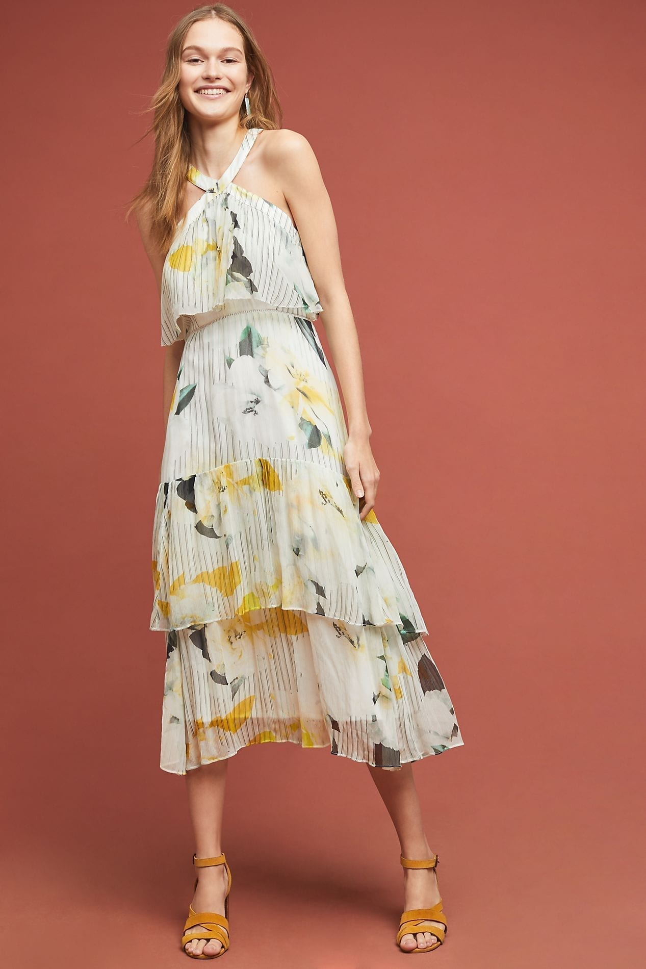 ANTHROPOLOGIE Garden Party Neutral Dress