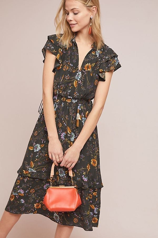 ANTHROPOLOGIE Hillside Silk Black Dress