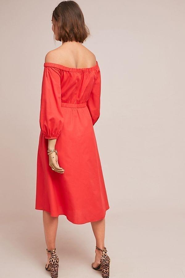 986f7a207b ANTHROPOLOGIE Klara Off-The-Shoulder Red Dress - We Select Dresses