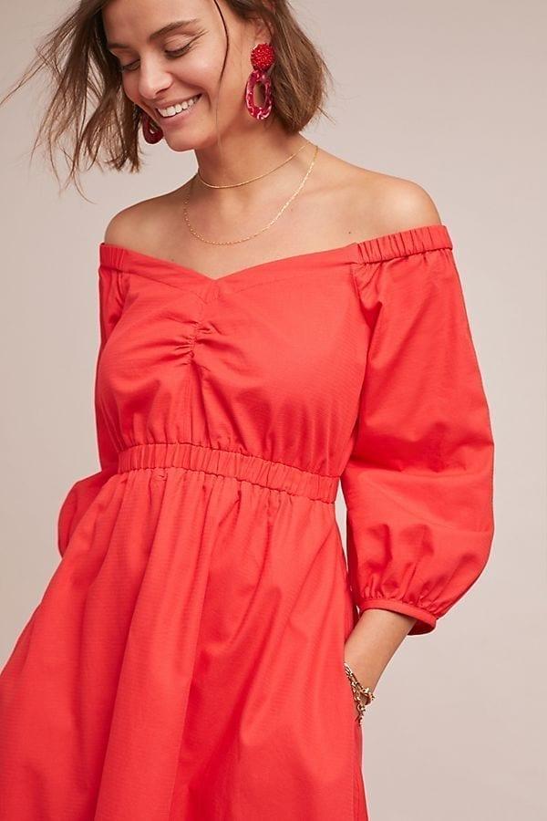 86a9b7835a48 ANTHROPOLOGIE Klara Off-The-Shoulder Red Dress - We Select Dresses