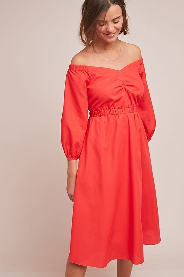 ANTHROPOLOGIE Klara Off-The-Shoulder Red Dress
