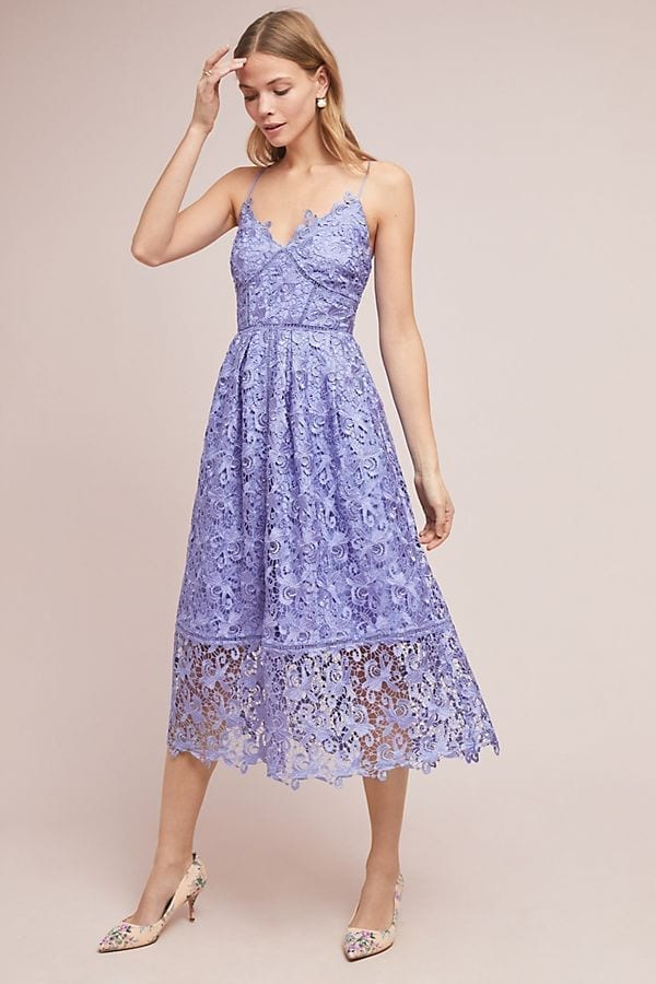 ANTHROPOLOGIE Sherbert Lace Midi Lilac Dress