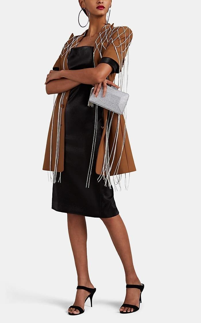 AREA Cotton-Blend Lamé Fitted Black Dress