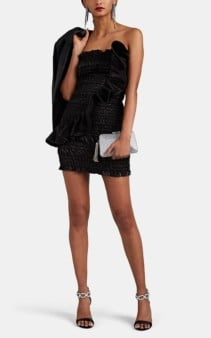 AREA Ruched Cotton-Blend Lamé Strapless Black Minidress