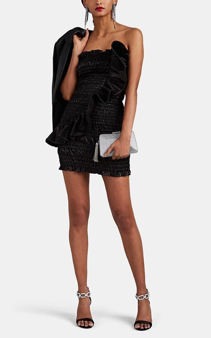 AREA Ruched Cotton-Blend Lamé Strapless Black Minidress