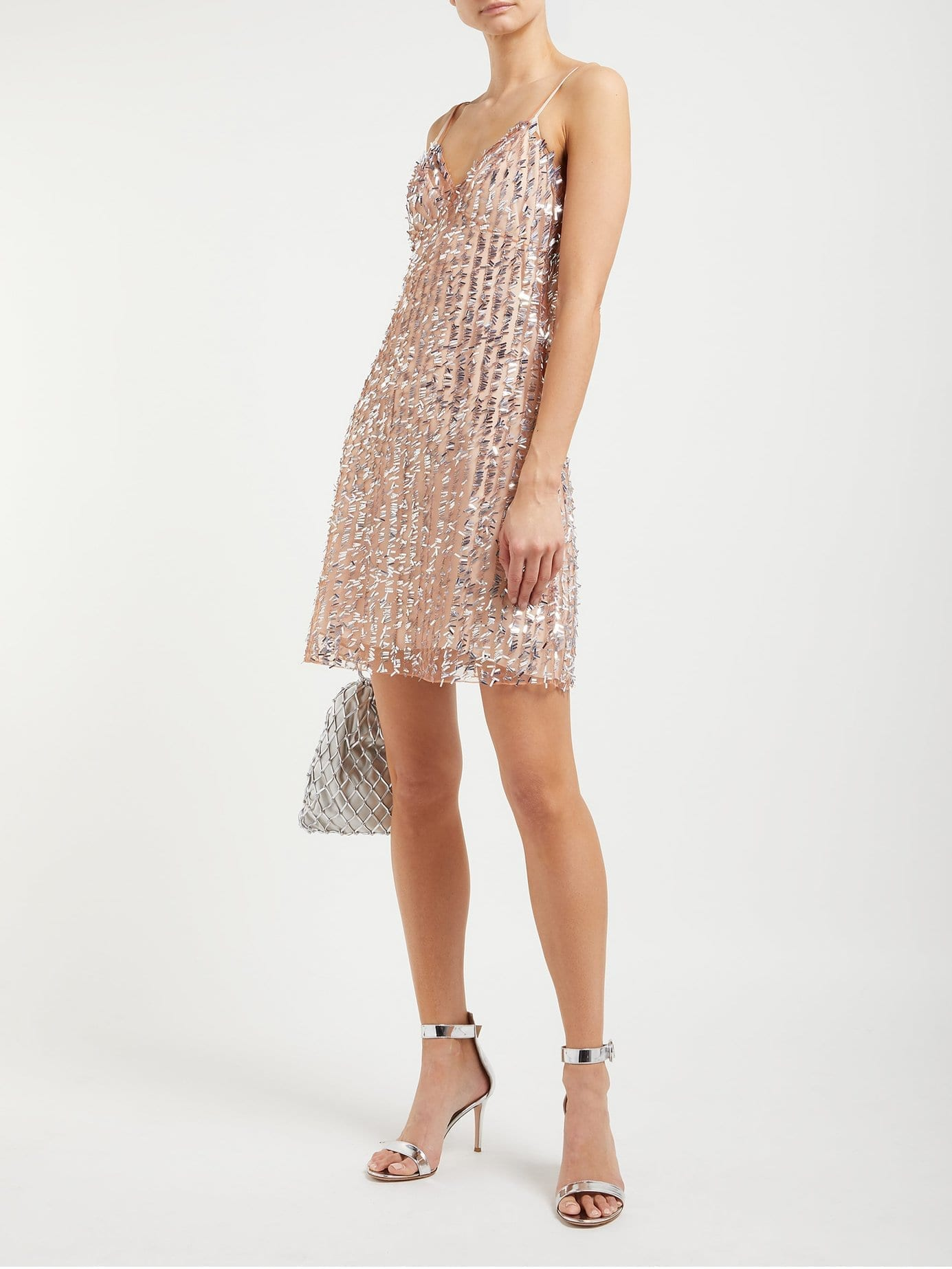 ASHISH Sequin-Embellished Sheer Slip Beige Dress