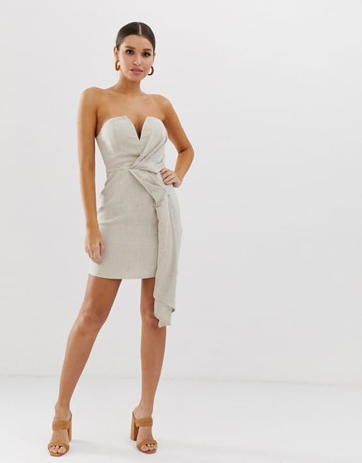 c0c1ee3fab ASOS DESIGN Bandeau with Drape Detail in Textured Linen Mini Neutral Dress
