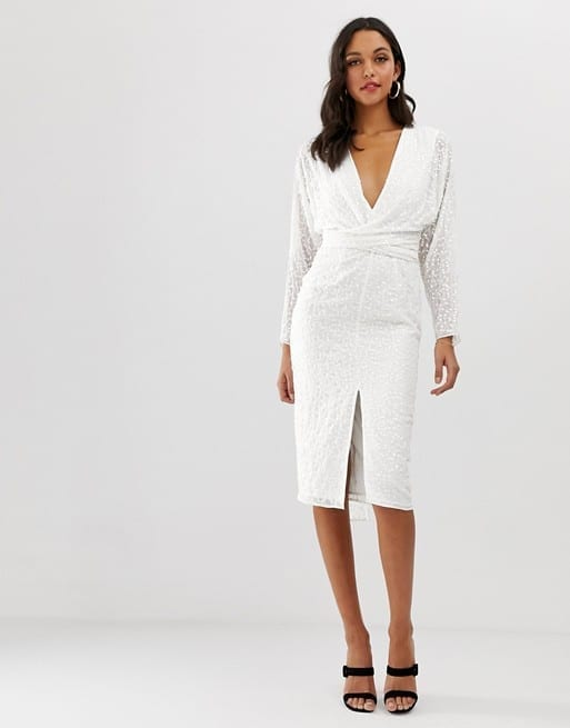 ASOS DESIGN Batwing Sleeve and Wrap Waist in Scatter Sequin White Midi Dress