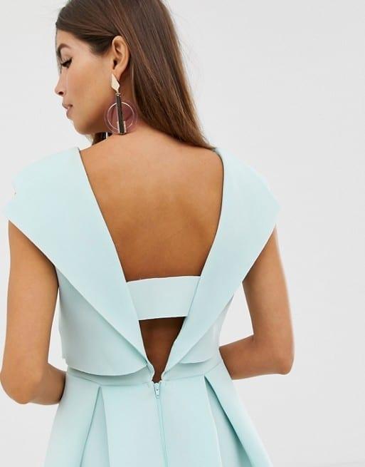 748a2b939e7b ASOS DESIGN Fold Back Crop Top Midi Prom Mint Dress - We Select Dresses